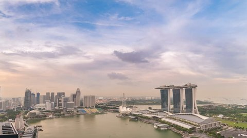 Singapore business district city skyline high angle view day to night timelapse, Marina Bay, Singapore 4K Time lapse