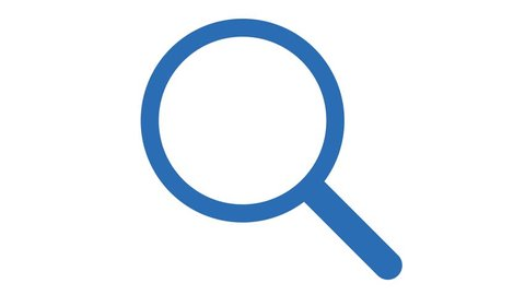 Magnifying glass search icon in and out animation loop blue