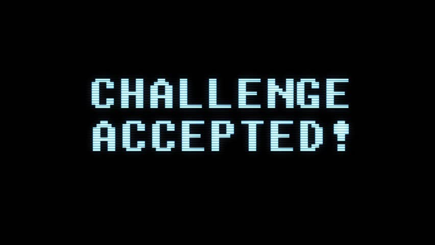 Retro videogame CHALLENGE ACCEPTED text holographic tv glitch interference noise screen animation seamless loop New quality universal vintage motion dynamic animated background colorful joyful video