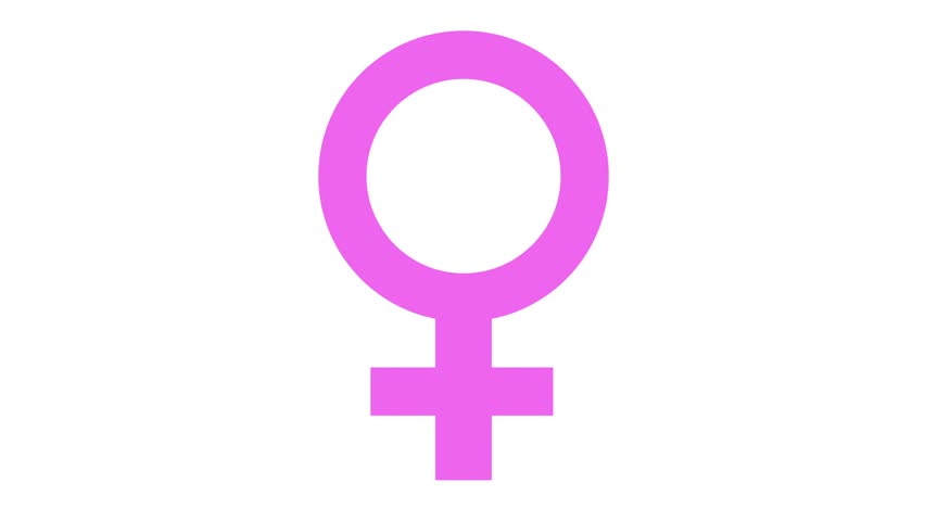 female symbol icon in and out animation pink