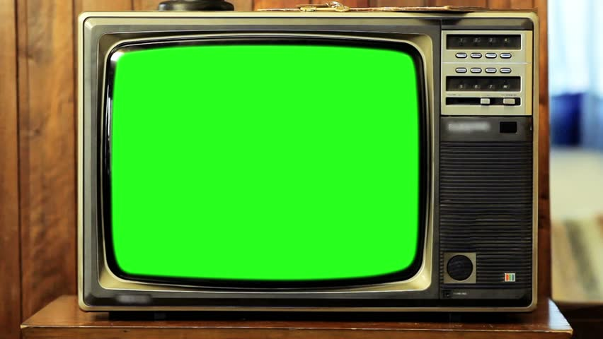 Old 80s Television Green Screen. Zoom Out. Fast.  #1008696511