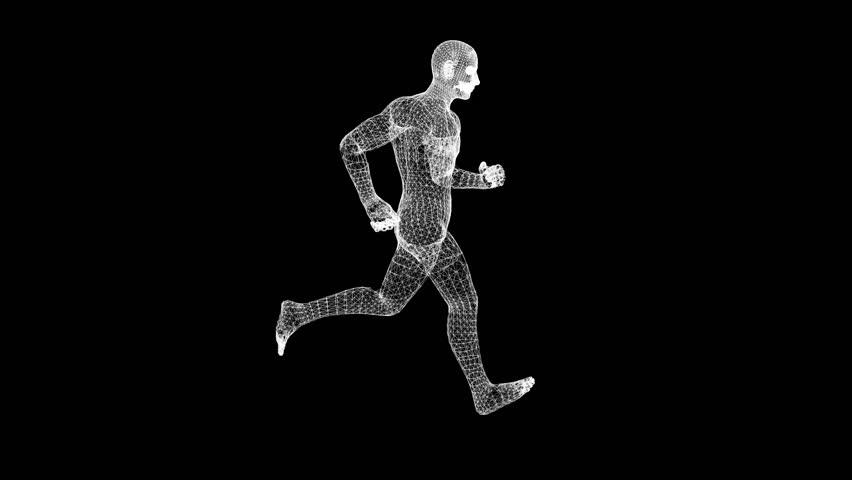 A man runs on a black background. 3d model. HUD. Loop video.