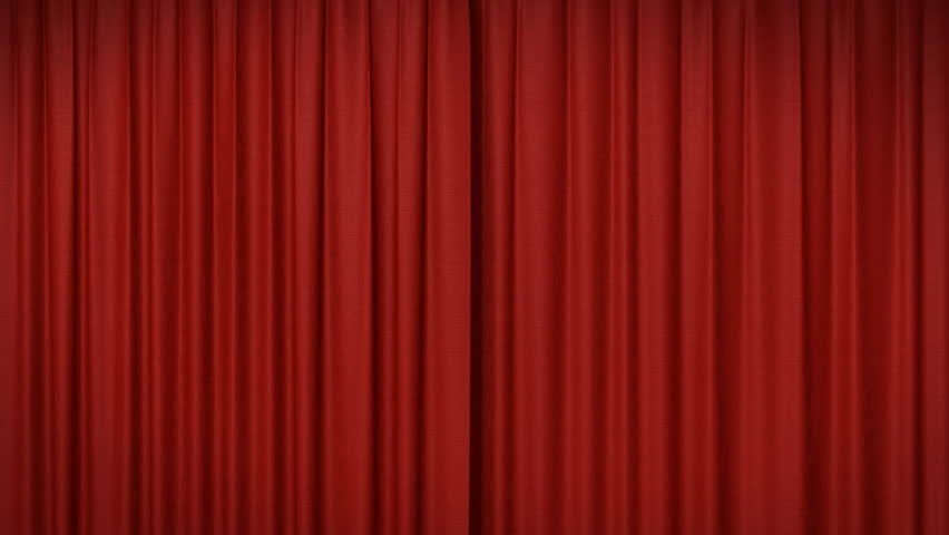 Opening and closing red curtain