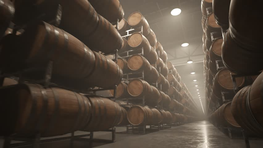 03253 Whiskey or wine barrels stacked in rows at the warehouse #1008744491