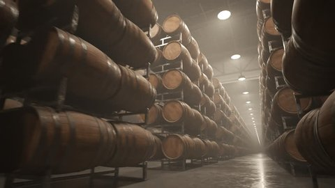 03253 Whiskey or wine barrels stacked in rows at the warehouse