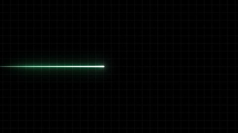 EKG Flatliner Screen, Green w/ Grid. Heart rate monitor / electrocardiogram (EKG or ECG) beeping then going flatline. For screen savers or computer monitor displays, animated at 60fps.