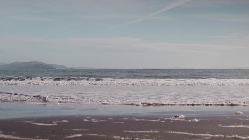 Gentle waves on a Northern California beach with sea birds floating in the distance.