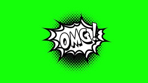 Comic strip speech bubble cartoon animation, with the words omg. White text, black shape, green background
