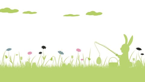Happy Easter. Field with rabbit fishing Easter eggs, butterfly and flowers.