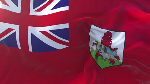 Bermuda Flag in Slow Motion Classic Flag Smooth blowing in the wind on a windy day rising sun 4k Continuous seamless loop Background