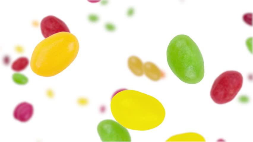 Jelly Beans falling down on white background (45 degrees, seamless loopable) with alpha mask in black and white from 0:30 in 4K UHD footage