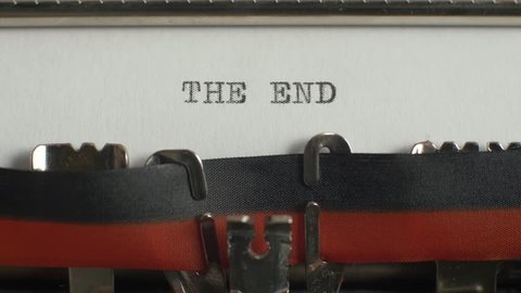 "Typing ""the end"" on typewriter"