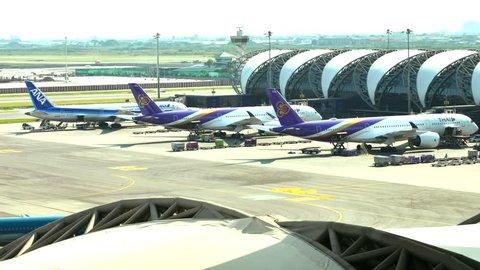 BANGKOK-MARCH 18 2018:Docked away flights in Suvarnabhumi Airport. Suvarnabhumi Airport is one of two international airports serving Bangkok, Thailand.