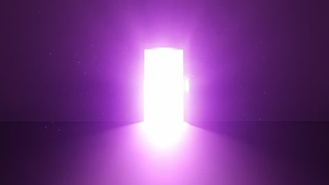 Door in a dark room opens and fills the whole room with blinding bright light 02 | Animation Stock Clip | Purple Violet