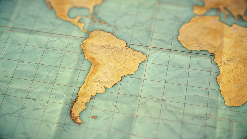 Zoom in from World Map to South America. Old well used world map with crumpled paper and distressed folds. Vintage sepia colors. Blank version  | Shutterstock HD Video #1008831551