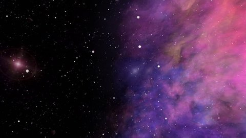 Colorful nebula and stars, universe, traveling through imaginary nebula space clouds and star fields in deep space, dynamic background, animation, abstract illustration