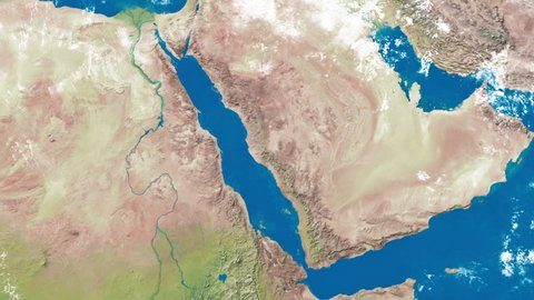 An Earth zoom satellite view to the Red Sea and surrounding countries.