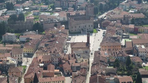 Marostica, Vicenza, Italy. Landscape from the upper castle towards the lower town