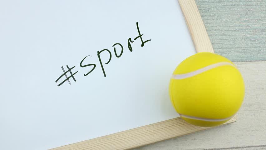 Hashtag sport and tennis ball | Shutterstock HD Video #1008900281