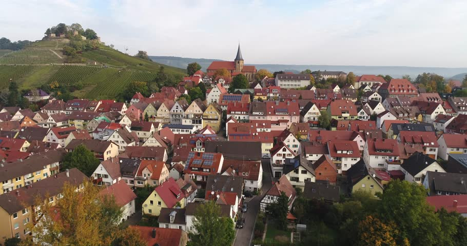Flying copter over the beautiful rural town Weinsberg near the Burgruine Weibertreu in Heilbronn, Germany. 4k footage. | Shutterstock HD Video #1008905291
