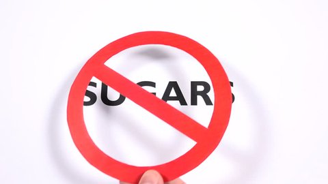 SUGARS prohibition symbol, lose weight, sweets ban writing with copy space. No candy, sweetie free, slim, cut down on calories, negative sign white background. Concept of diet and healthy lifestyle