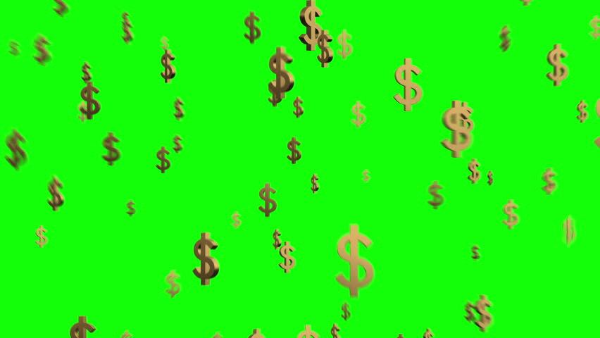 Falling 3D Dollar signs $ over a solid green screen background | Rain of USD Symbols | Seamless looping Animated Backdrop