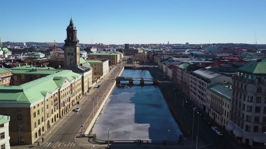 4k aerial drone footage - Big Harbour Canal and Christina Church.  Downtown district Gothenburg, Sweden