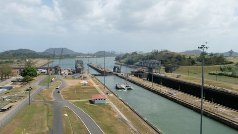 Sailing boat on Panama Canal, Miraflores Locks, Panama City