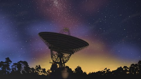 Radio Satellite Telescope searching Milky Way stars 3d (4K)  This animation shows a radio telescope satellite dish searching night sky with milky way and its stars. The telescope is a silhouette.