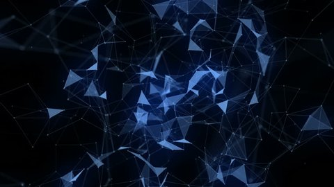 Futuristic video animation with glowing triangles in slow motion, 4096x2304 loop 4K
