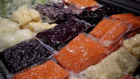 colorful vegetables preserved in vacuum packed bags to keep the organoleptic properties of foods