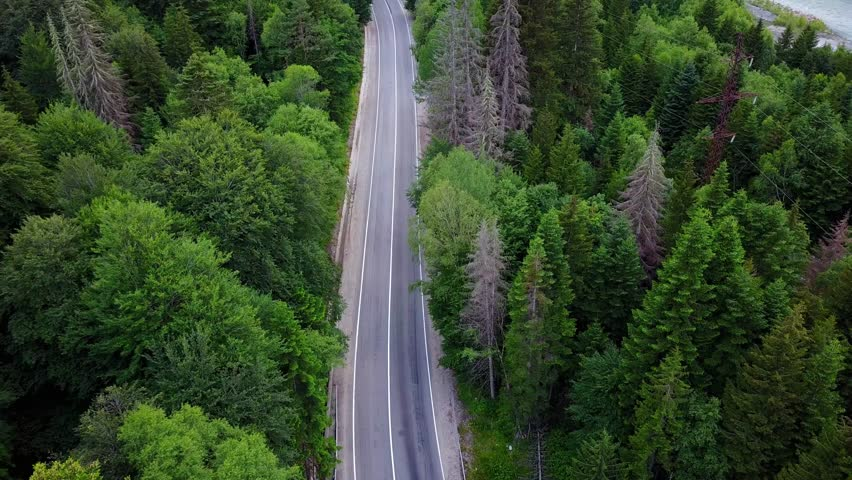 Aerial view flying over old patched two lane forest road with cars moving green trees of dense woods growing both sides - shot with drone quad copter birds eye view perspective from above North Caucas #1009115291