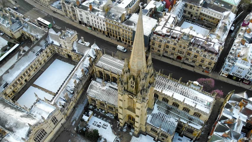 Aerial view of central Oxford, UK  | Shutterstock HD Video #1009120961