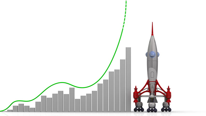 The graph of rating growth. Graph of rapid growth with word RATING and rocket launch. Footage video | Shutterstock HD Video #1009125101