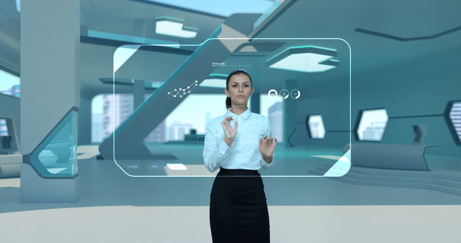 Businesswoman working holographic virtual interface HUD modern futuristic interior. Woman girl touching touch screen. Diagrams appearing Virtual Augmented Reality future touchscreen technology
