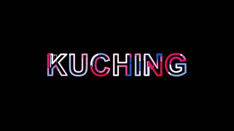 Letters are collected in city KUCHING, then scattered into strips. Alpha channel Premultiplied - Matted with color black