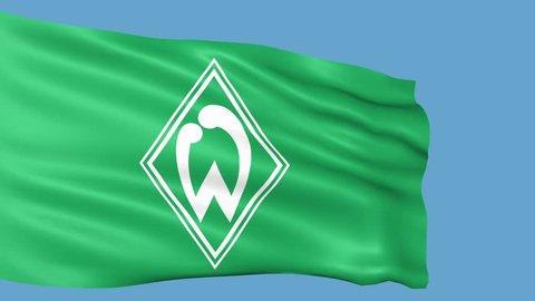 Werder Bremen flag is waving. Editorial animation.