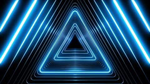Beautiful Abstract Triangle Tunnel with Blue Light Lines Moving Fast. Set of Several Video Elements. Background Futuristic Tunnel with Neon Lights. Looped 3d Animation Art Concept. 4K Ultra HD 3840x21