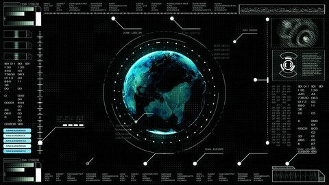 Hi-tech digital abstract background interface head up display holographic earth
