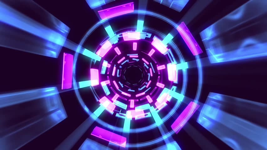 Flight in out through block neon lights abstract cyber tunnel motion graphics animation background loop new quality retro futuristic vintage style cool nice beautiful video footage