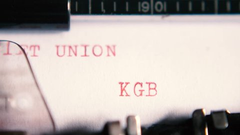 "Typing ""SOVIET UNION KGB"" on an old typewriter with sound"