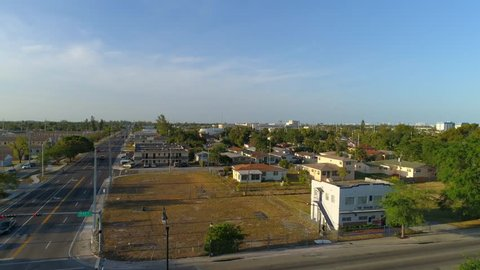 Aerial video Liberty Square Miami Florida poverty low income neighborhood ghetto projects