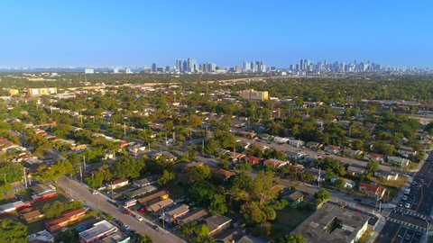 Aerial drone footage Miami Liberty City high crime drug neighborhoods 4k