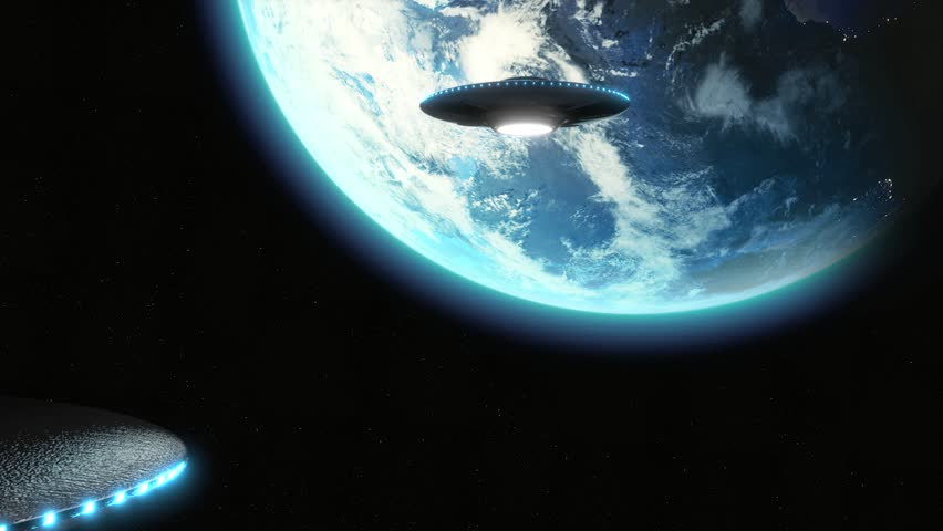 UFO Alien Cinematic invasion over earth, hundreds of metallic flying saucers/ space ships, moving toward earth 24fps - 3D animation 4K & HD menacing shot.