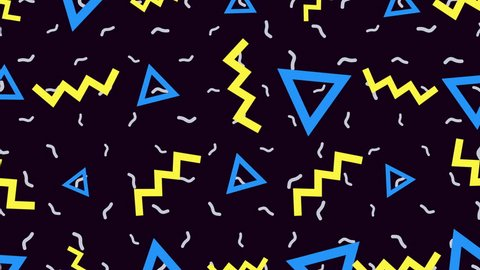 Motion retro geometric shapes, abstract background. Elegant and luxury dynamic geometric 70s, 80s, 90s memphis style template in 4k footage. Video format 3840x2160
