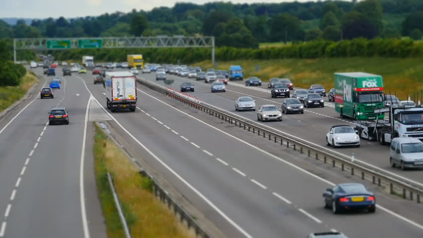 Traffic on the M4 to A34 Junction. Special technique to make the vehicles look like toys. Vehicles queuing
