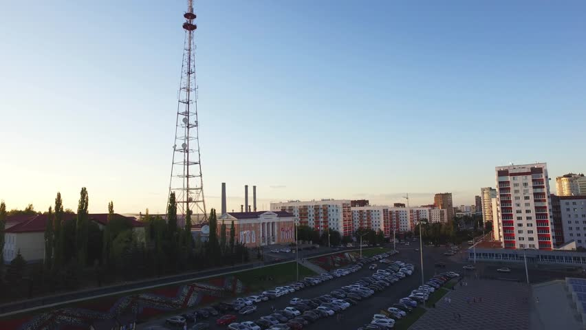 TV Tower in Ufa city - capital of Republic of Bashkortostan - aerial view