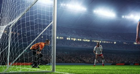 Soccer game moment with goalkeeper on professional stadium
