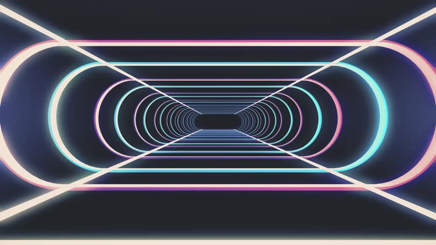 endless neon rib lights abstract cyber tunnel flight motion graphics animation background seamless loop new quality retro futuristic vintage style cool nice beautiful video footage