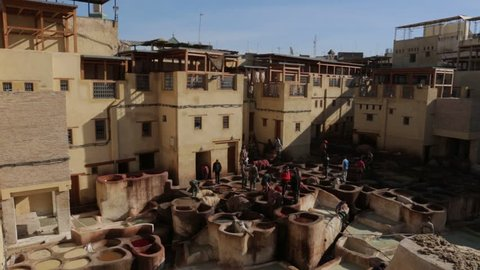 Leather Tannery And Dyeing In Morocco Fes. Leather tannery and dyeing.